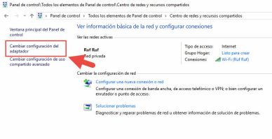 Cambiar configuración adaptador de red Windows 10