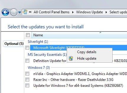Esconder actualizaciones Windows 7