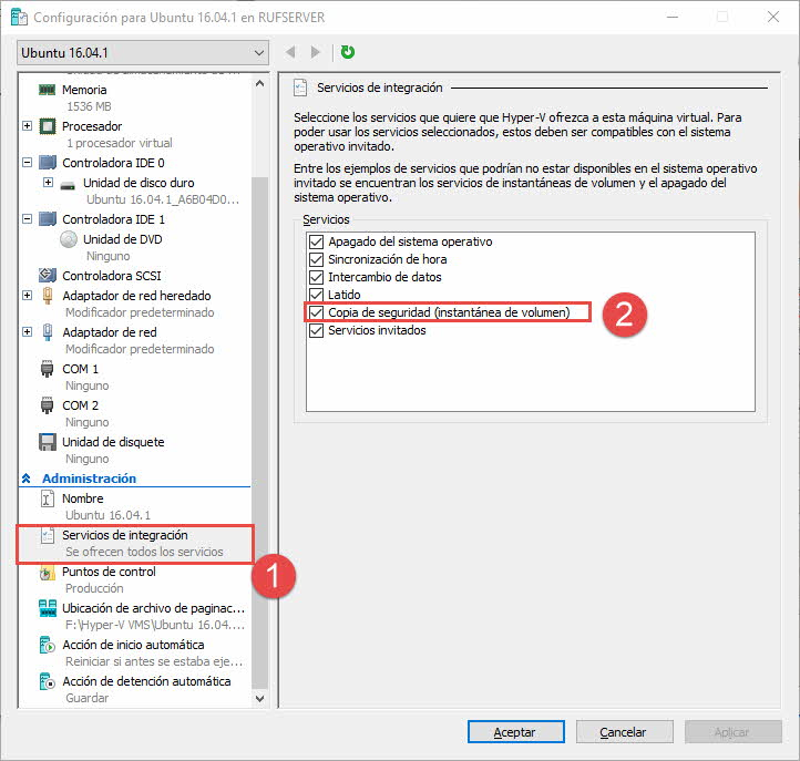 Activar Integration Services en Hyper-V