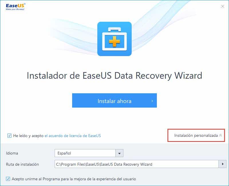 EaseUS Data recover wizard - Instalación