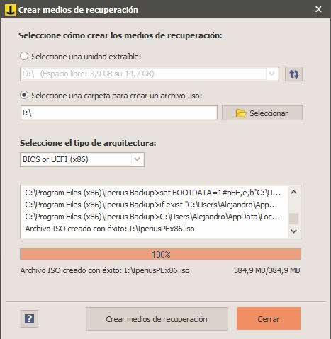 Review Iperius backup - crear medio de arranque (ISO)