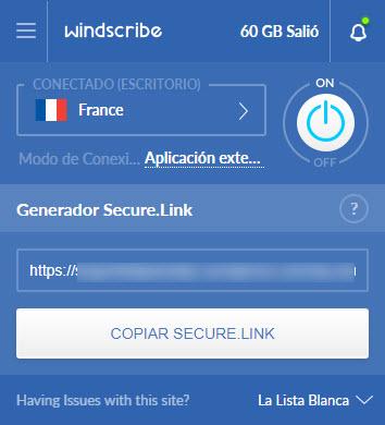 Windscribe Google Chrome extensión