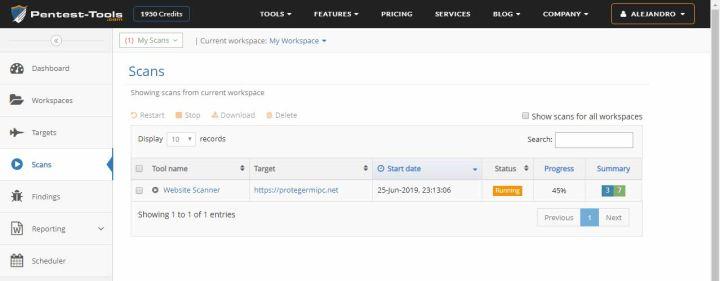 Análisis del servicio pentest-tools.com - Escaneos en curso