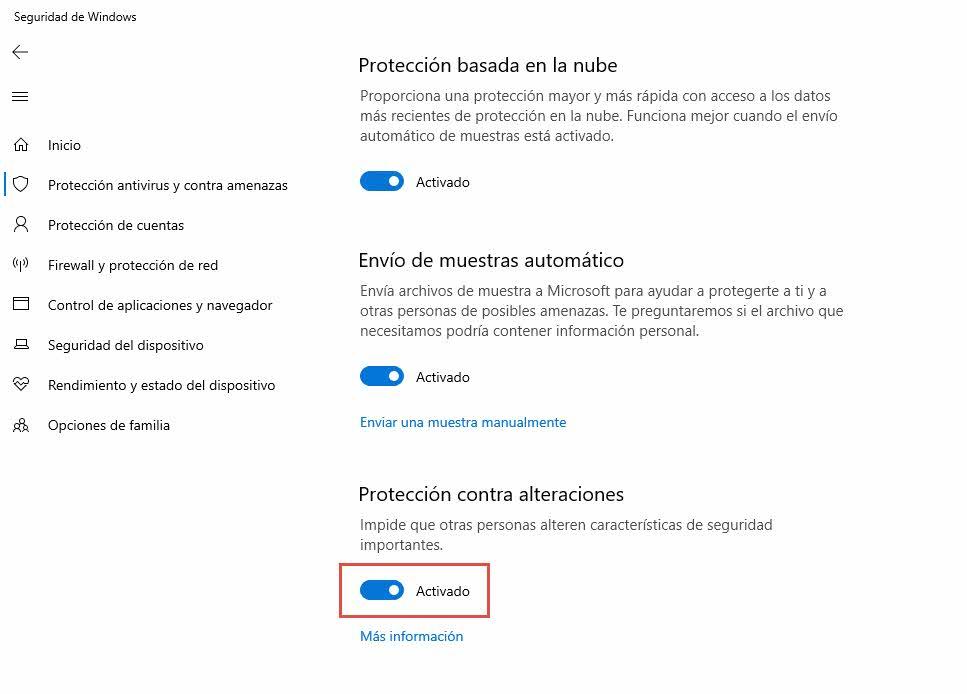 Como habilitar la protección contra alteraciones en Windows Defender 3