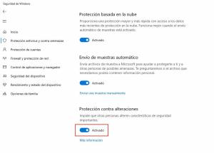 Como habilitar la protección contra alteraciones en Windows Defender 3