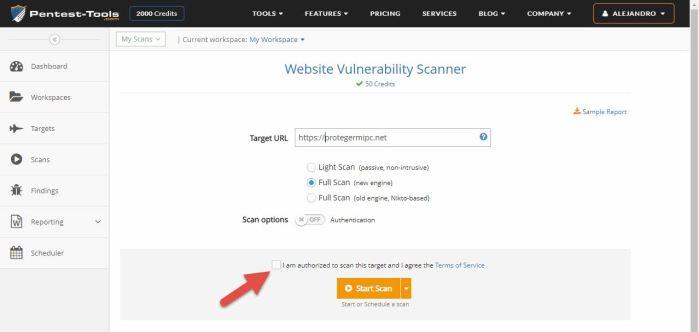 escaneo de vulnerabilidades web - Pentest-tools.com