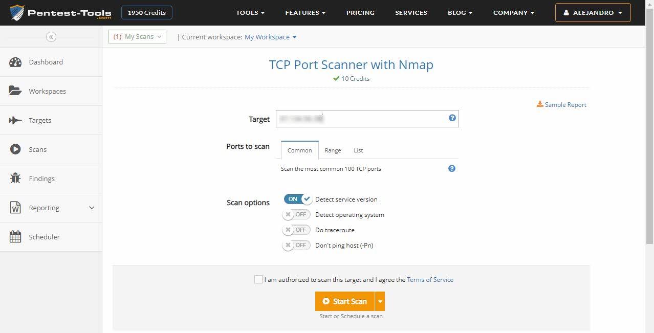 Pentest tools - escaneo de puertos con Nmap