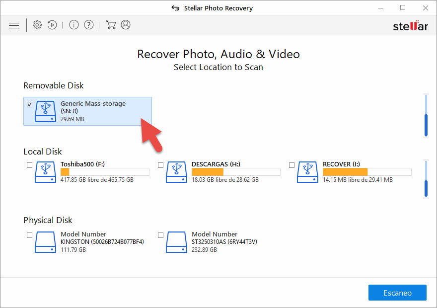 sTELLAR Photo Recovery - recuperar archivos sd
