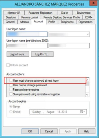 user must change the password at the next logon