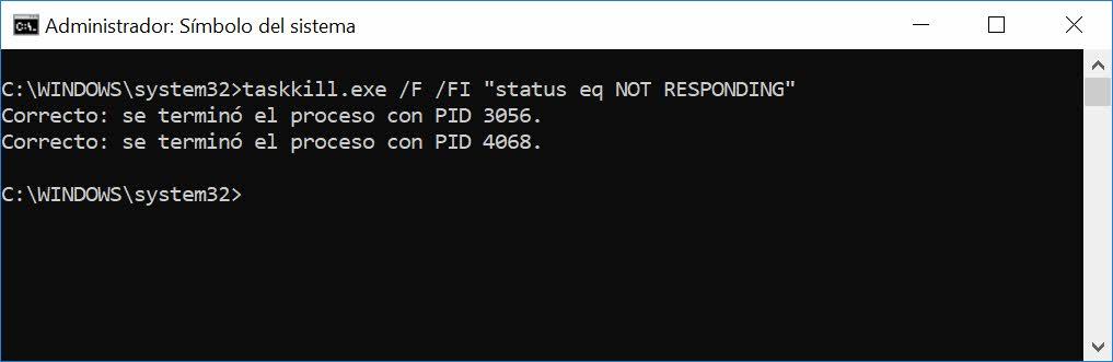 Eliminar todos los procesos que no responden en Windows a la vez