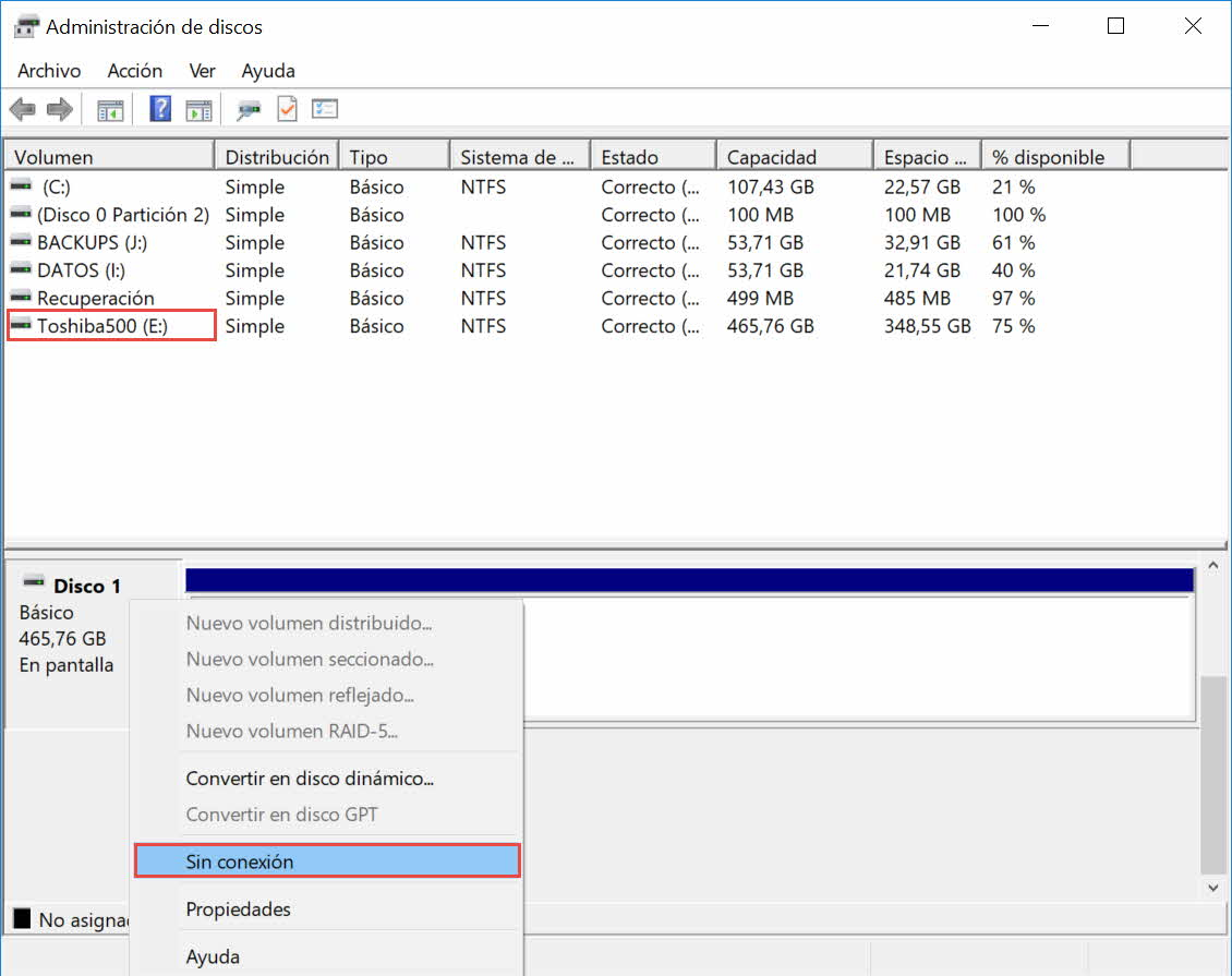 Poner disco offline en administrador de discos Windows 2