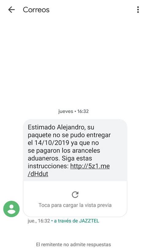 Ataque de phishing Correos SMS