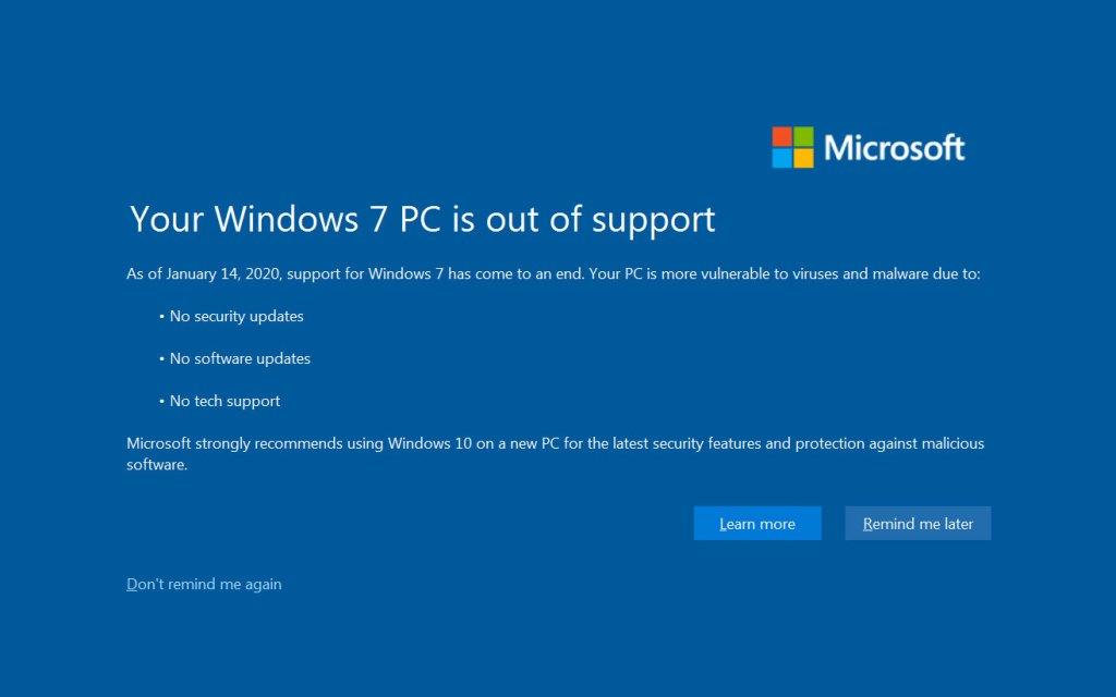 Windows 7 fin de soporte