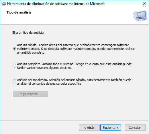Herramienta de eliminación de software malicioso de Windows