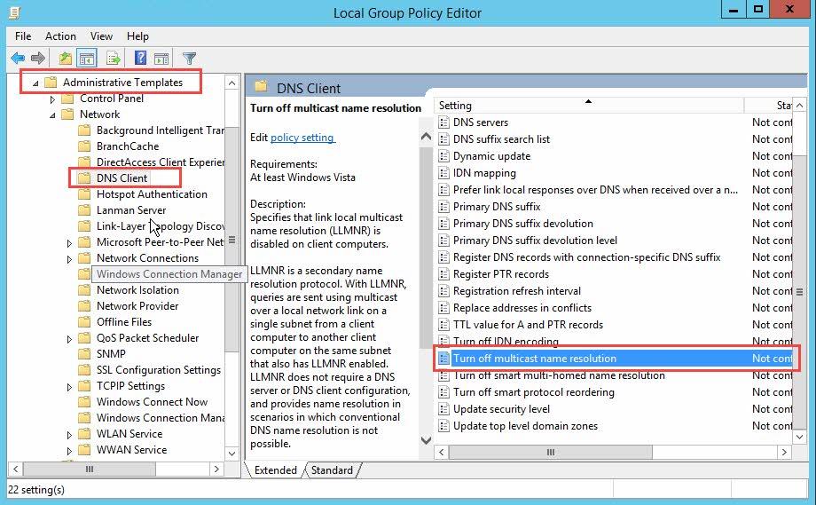 Desactivar LLMNR en Windows Server