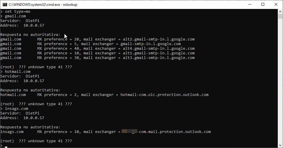 Obtener registros MX servidores de correo