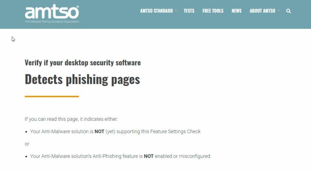 Prueba antivirus Páginas de phishing AMTSO