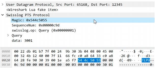 Captura de un paquete TLP20 sobre UDP
