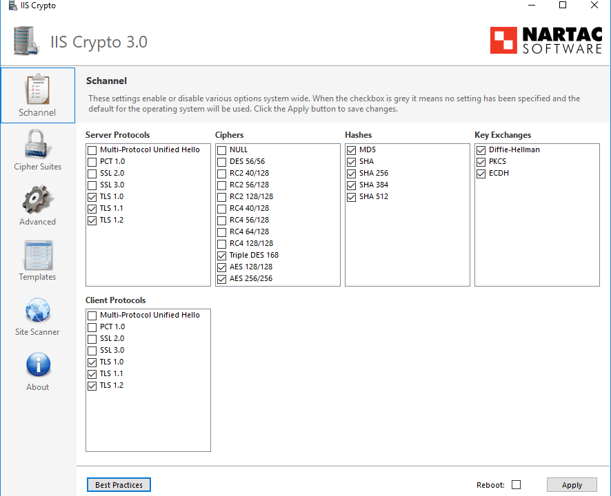 Controlar algoritmos criptográficos con IIS Crypto