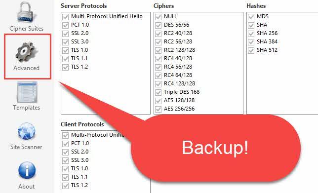 IIS Crypto backup