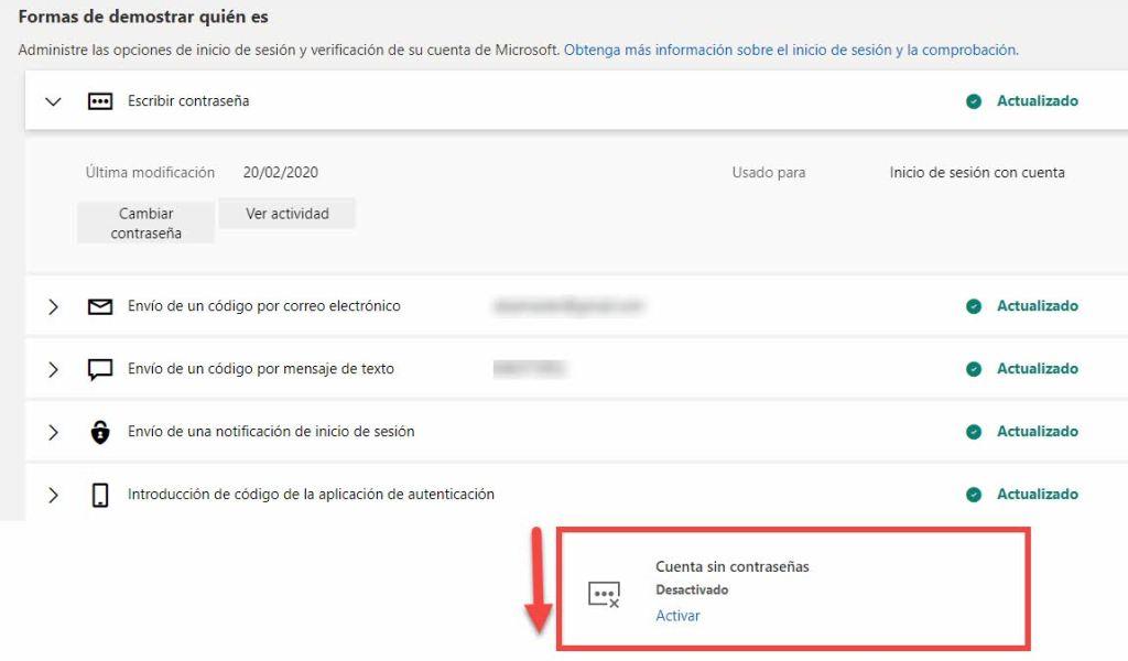 Seguridad sin contraseñas cuenta Microsoft