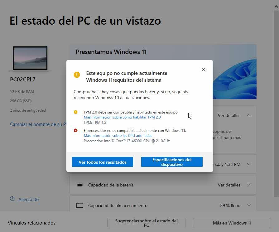 WindowsPCHealthCheck - procesador incompatible